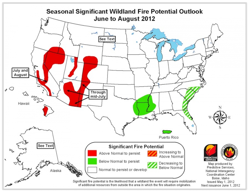 Western US Faces Extreme Wildfire Risk Now And Later Climate - Map of fire risk us