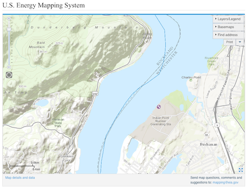The U S Energy Mapping System Shows The Location Of New York S Indian Point Energy Center Nuclear Power Plant In Relation To The Hudson River And The