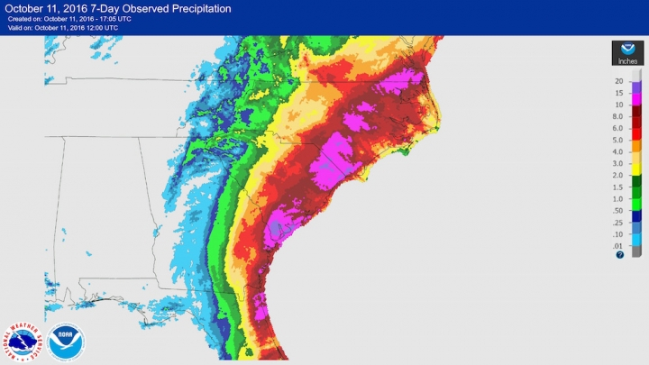 Rainfall Amounts Over The Last Seven Days In The Southeast Most Of Which Were Due To Hurricane Matthew Credit Noaa