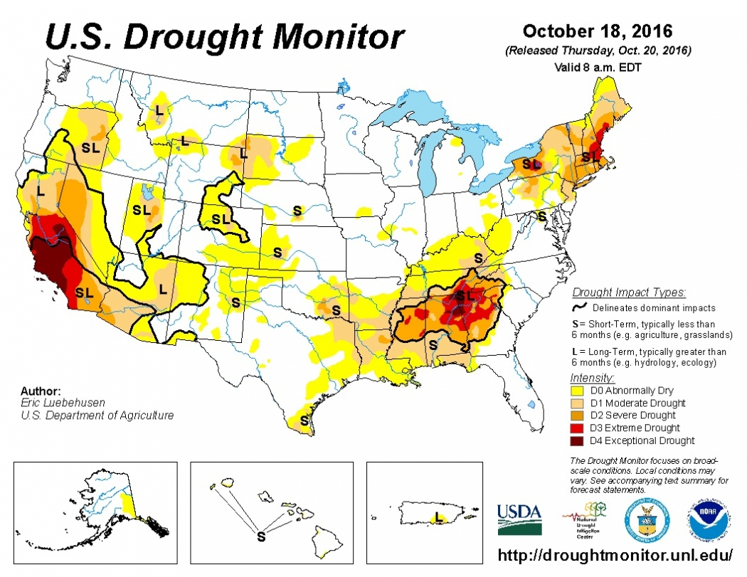 Winter Drought Forecast For Much Of US Climate Central - Us droup map california chage