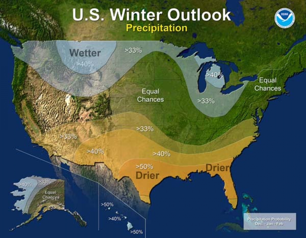 Winter Drought Forecast For Much Of US Climate Central - Map of us after pole shift