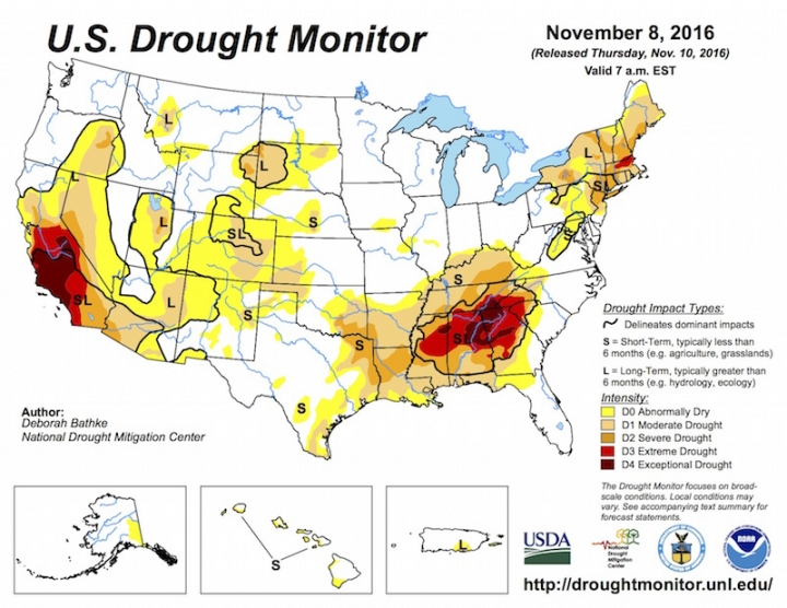 La Niña Arrives Likely To Exacerbate Southern Drought Climate - Southern map of us