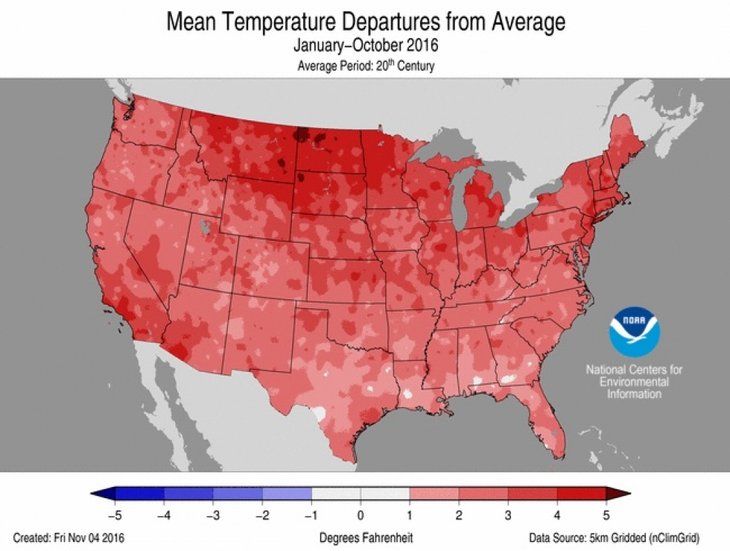 Toasty October Keeps US on Track for 2ndHottest Year Climate
