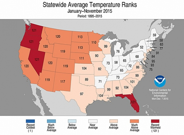 Florida s record warm 2015 an outlier in u s east for Warm places to visit in december in usa