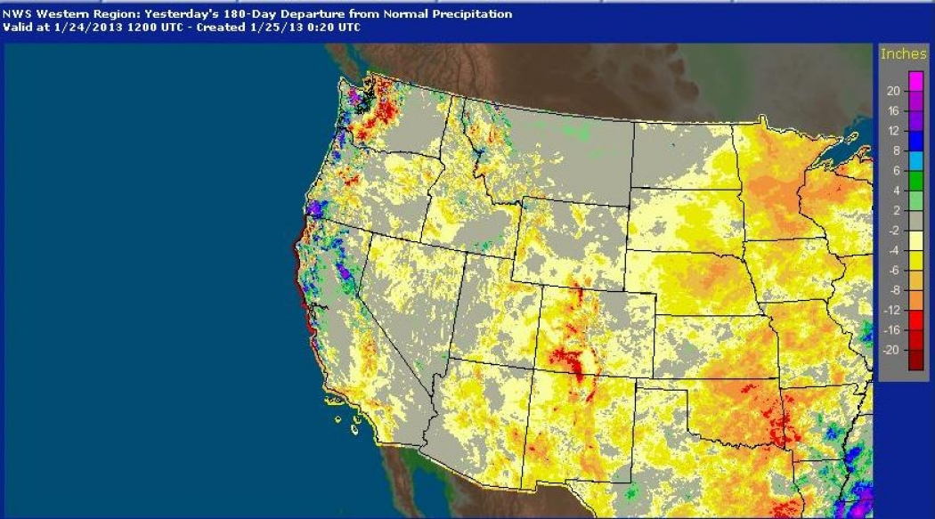 Rainfall Percentage Of Average During The Past 180 Days Across The Western U S Showing Widespread Below Average Precipitation In Most Areas