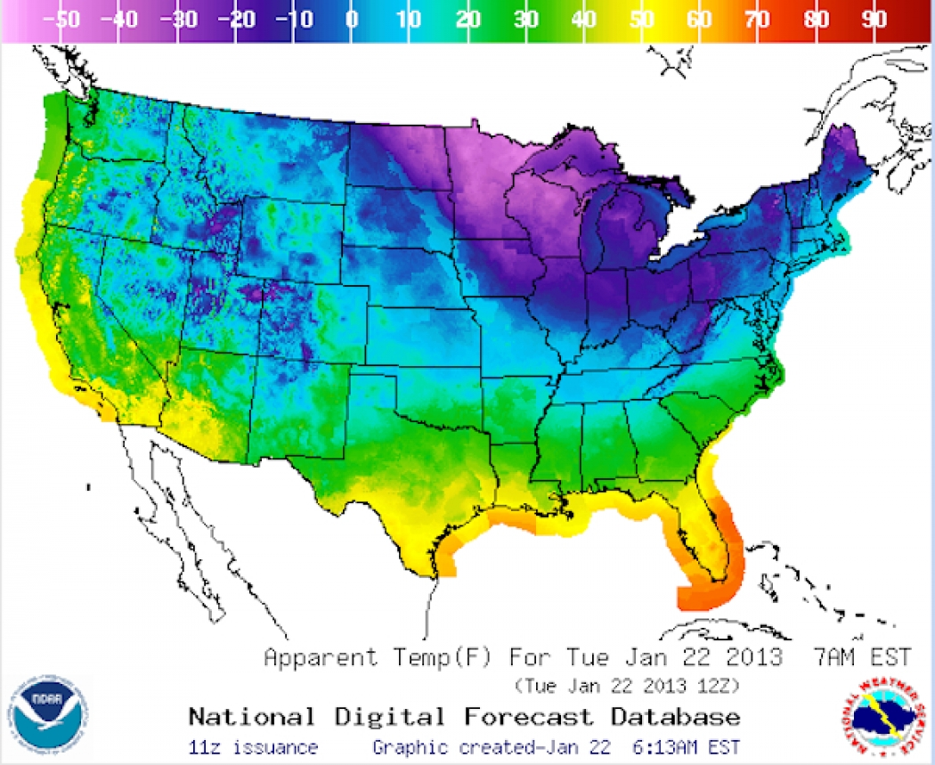 Frigid Air Grips Big Part Of US Is There A Tropical Link - Temperature map united states january