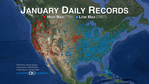 a map showing the records set for daily high versus daily low temperatures in january 2014 credit national climatic data center