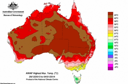 Australias 2014 heat wave picks up where 2013 left off climate a map showing the highest temperatures recorded in australia between dec 29 2013 jan 4 2014 source bureau of meteorology gumiabroncs Gallery