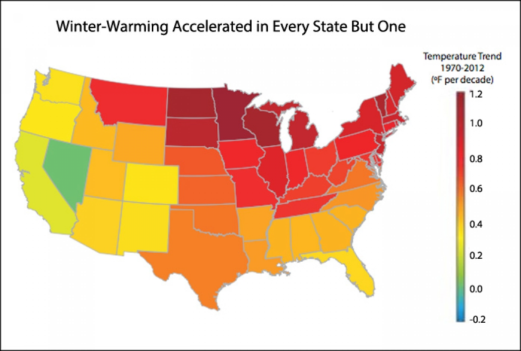 Warming Winters US Temperature Trends Climate Central - Us average winter temperature map