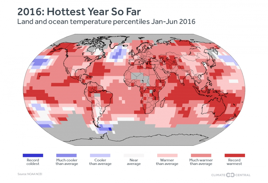 First half of 2016 blows away temp records climate central how temperatures around the world have varied from the 20th century average for the first six months of 2016 click image to enlarge credit noaa gumiabroncs Choice Image