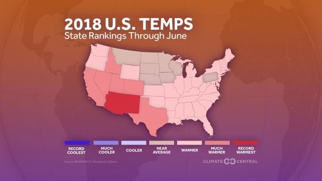 2018 U.S. Temps: State Rankings Through June