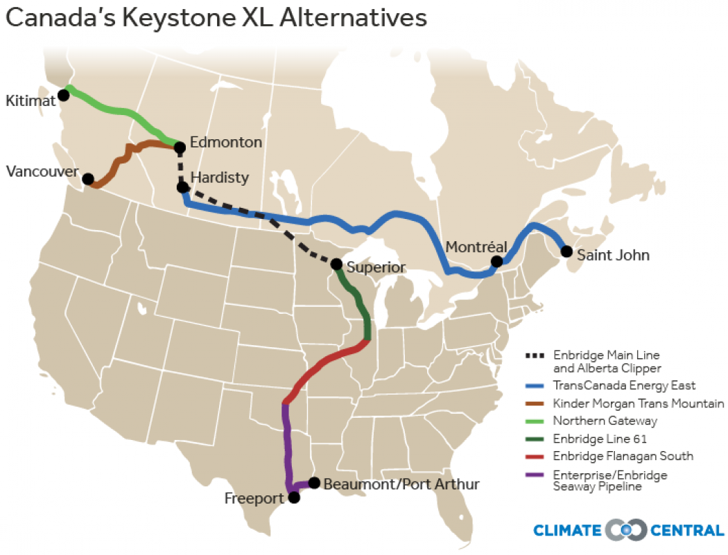 Canada Pushes Ahead With Alternatives To Keystone XL Climate Central - Current map of oil pipelines in us