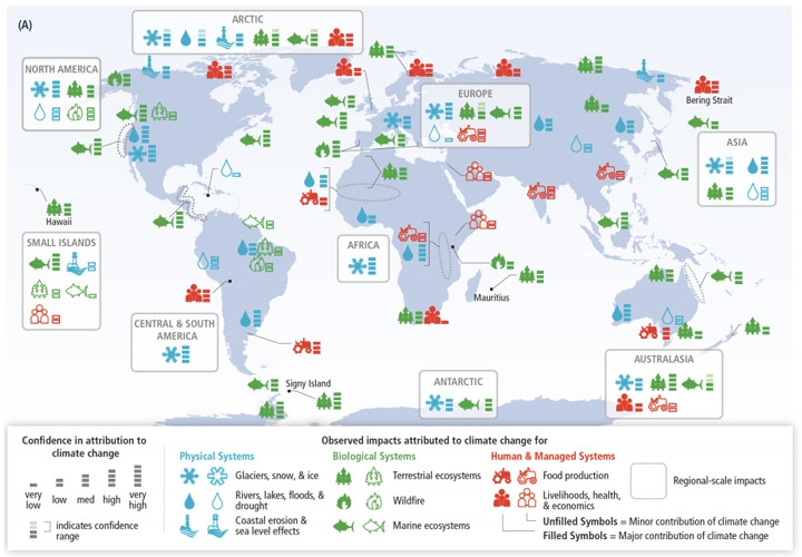 A Map Showing The Impacts Climate Change Has Had On Human And Natural Systems And The Level Of Confidence In Those Impacts Credit Ipcc Working Group I