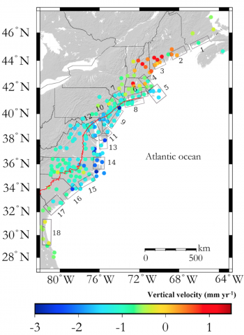 Credit Karegar Et Al Subsidence Along The Atlantic Coast Of North America Insights From Gps And Late Holocene Relative Sea Level Data Grl 2016
