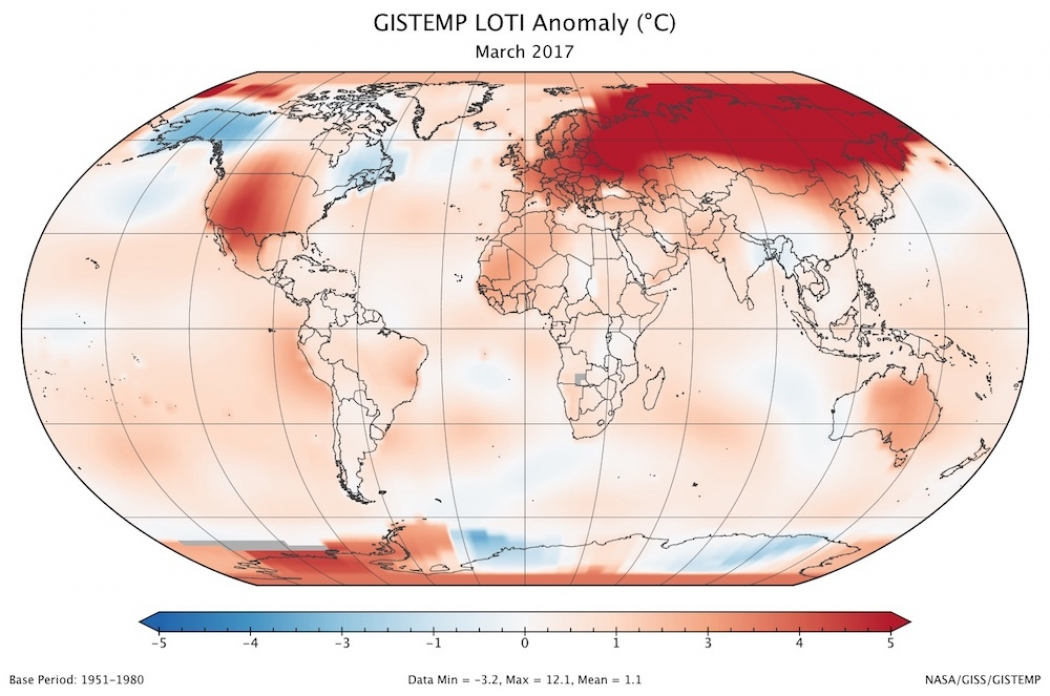 How Temperatures Around The World Varied Compared To The 1951 1980 Average With Red Colors Denoting Warmer Than Average Temperatures And Blue