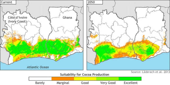 How warming could impact your easter chocolate climate central suitability for cacao cultivation at present left and projected for 2050 right credit noaa sciox Image collections