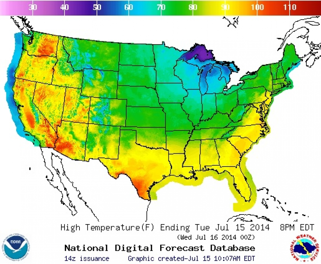 The Forecasted Highs In Degrees Fahrenheit For July 15 2014 Expected After A Cold Air Incursion Into The Eastern U S Credit Noaa