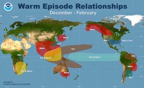 The Climate Impacts Typically Associated With An El Nino During The Months Of December January And February Click Image To Enlarge Credit Noaa