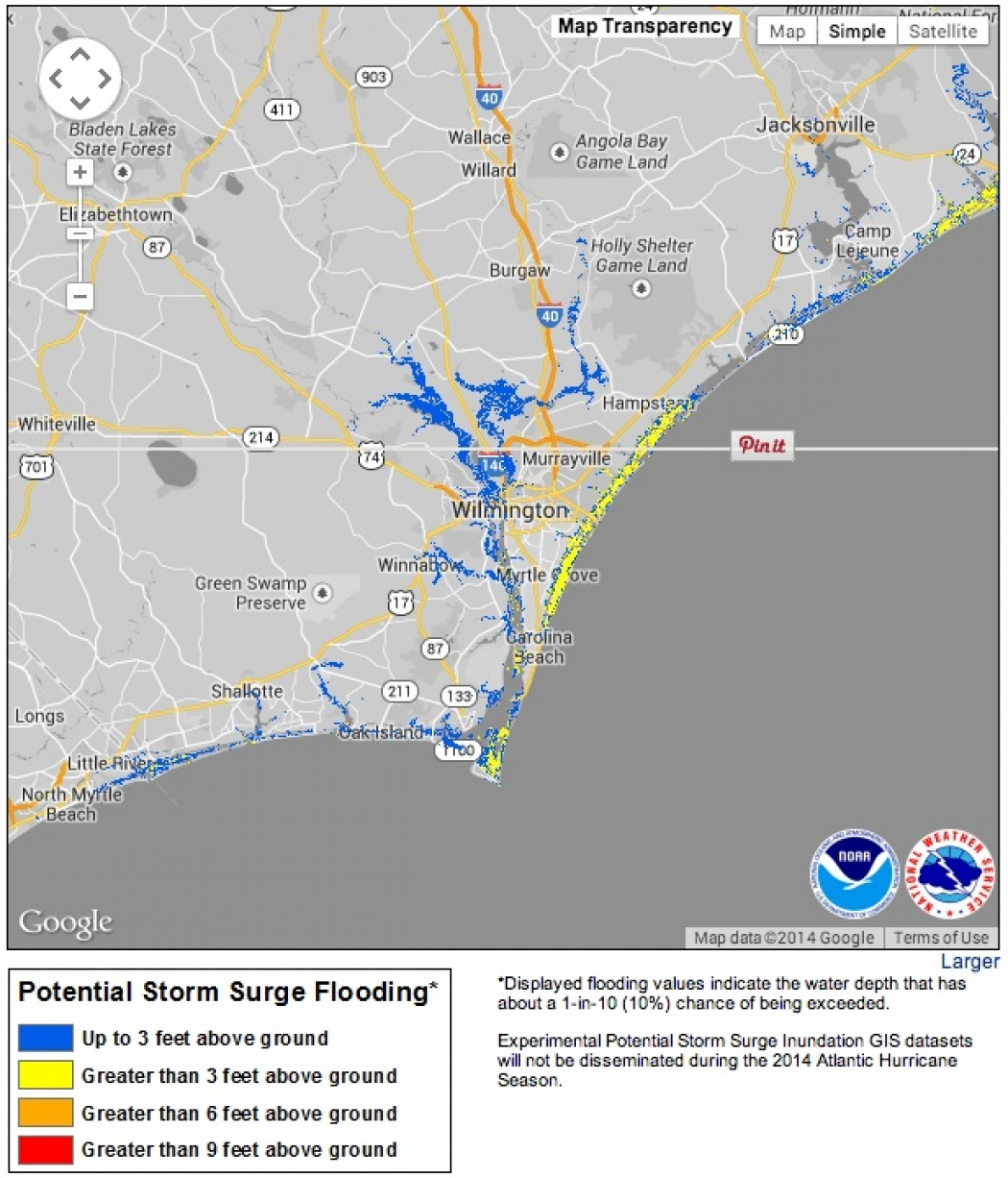 New Storm Surge Maps Debut With TS Arthur Climate Central - Nc flood maps