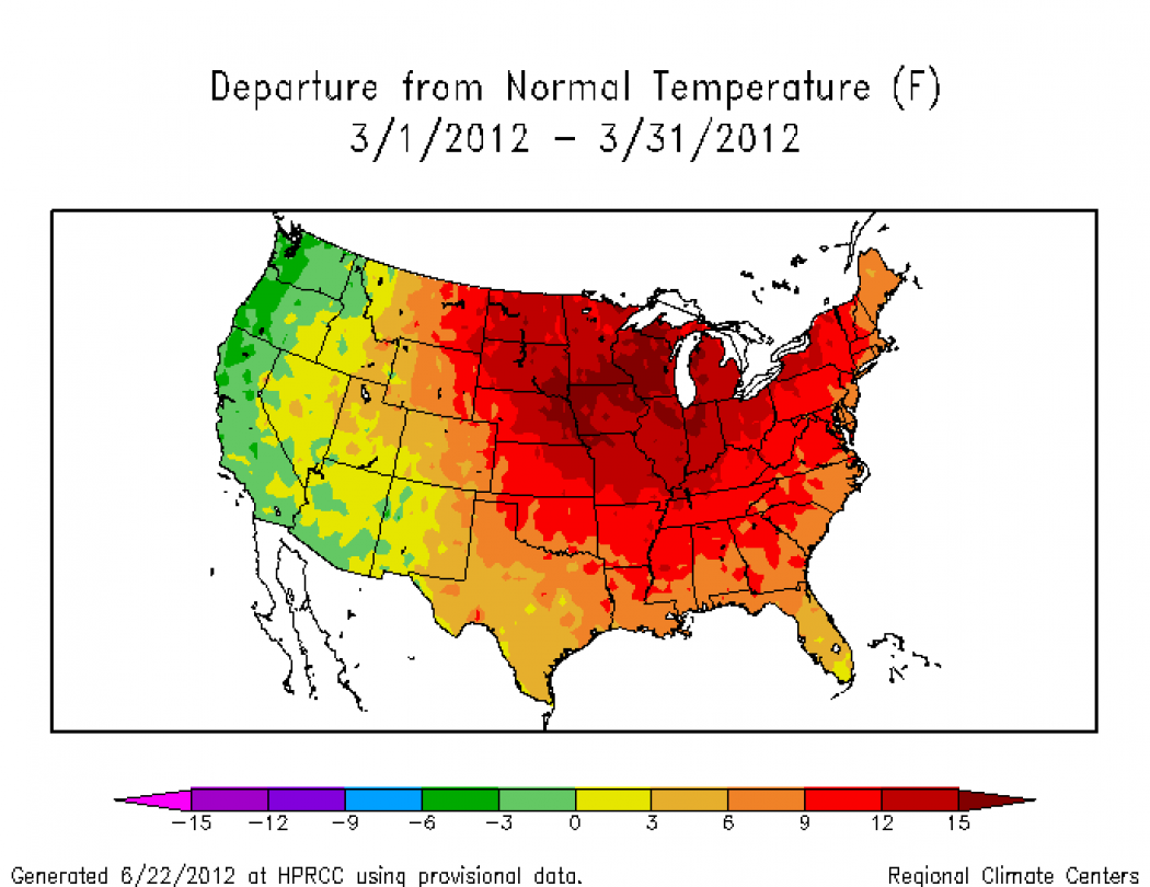 as this map of temperature departures from average shows click on image for a larger version credit high plains regional climate center
