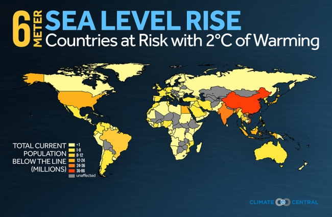 Coastal Nations Megacities Face Feet Of Sea Rise Climate Central - Projected sea level rise map