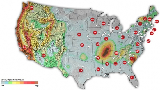 Interactive Shows Earthquake Risks To Americas Nuclear Power - Map of nuclear reactors in us