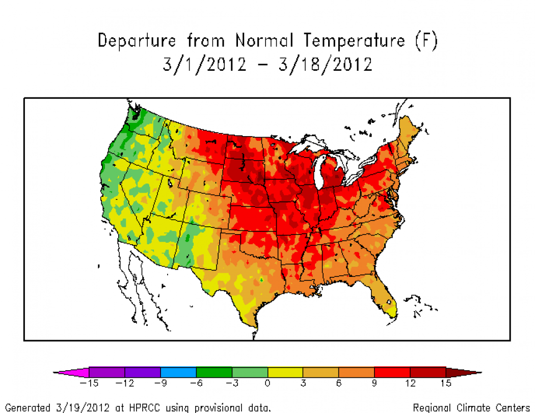 Historic march heat wave sets new milestones climate central temperature departures from average on during the period of march 1 18 credit noaasouthern regional climate center publicscrutiny