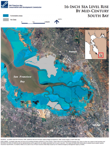 Nasa visualizes sea level rise in san francisco bay area climate this map shows parts of southern san francisco bay that are vulnerable to flooding from a 16 inch sea level rise by mid century credit san francisco bay publicscrutiny Images