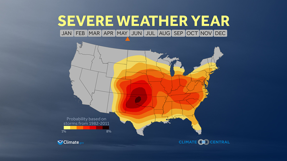 Severe Weather Season Climate Central - Us weather climate map