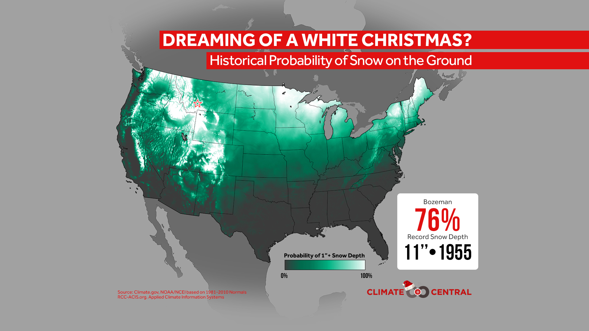 Historical Probability of a White Christmas | Climate Central