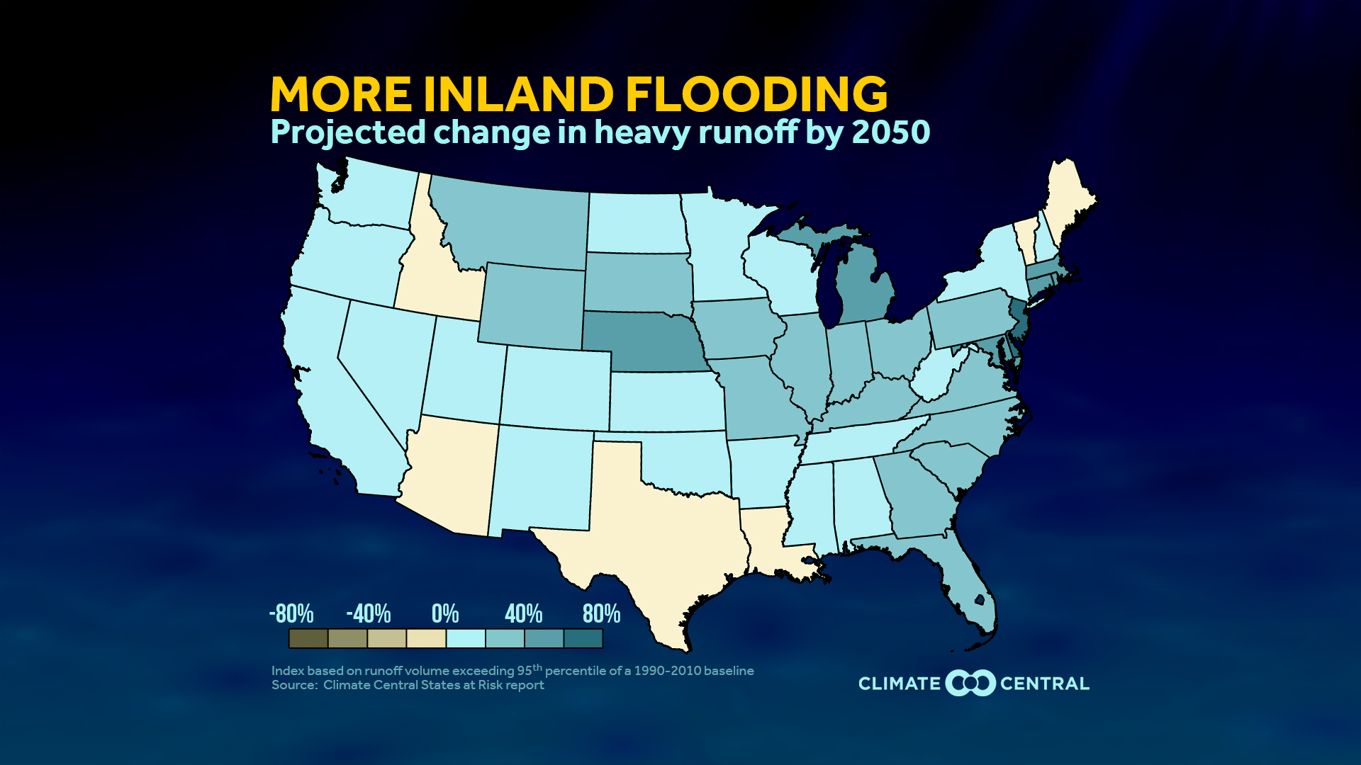 Report Shows Inland Flooding To Increase In The US Climate Central - Map of flooding in us