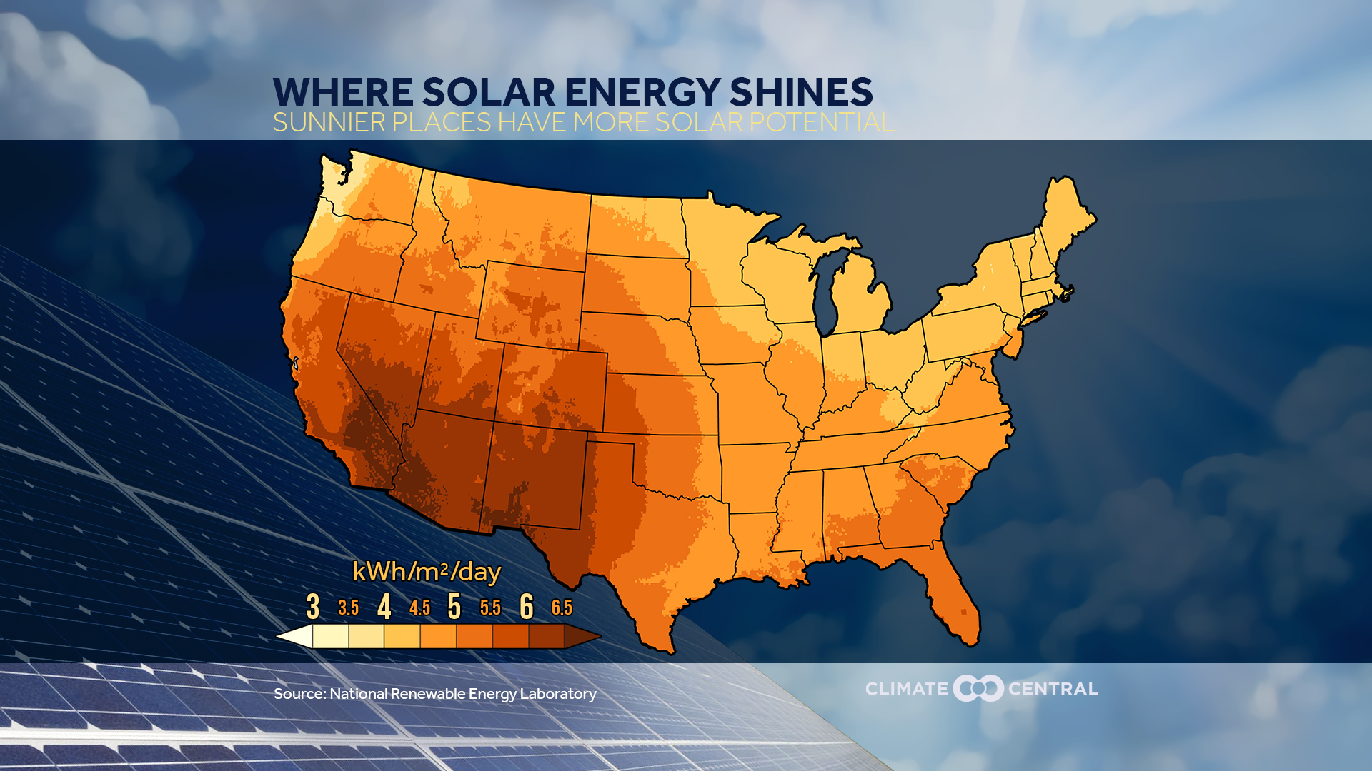 Heres Where Solar Energy Shines In The US Climate Central - Us solar map