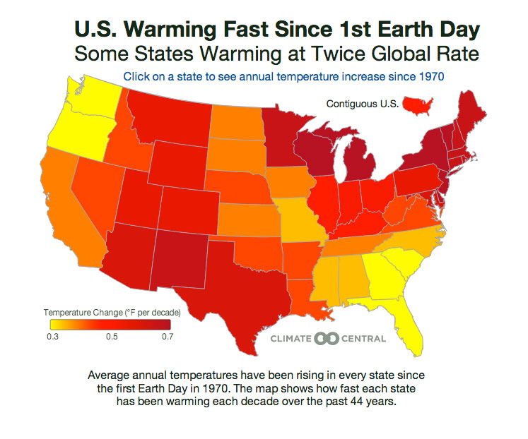Temps Marching Upward Since First Earth Day Climate Central - Interactive us temp map
