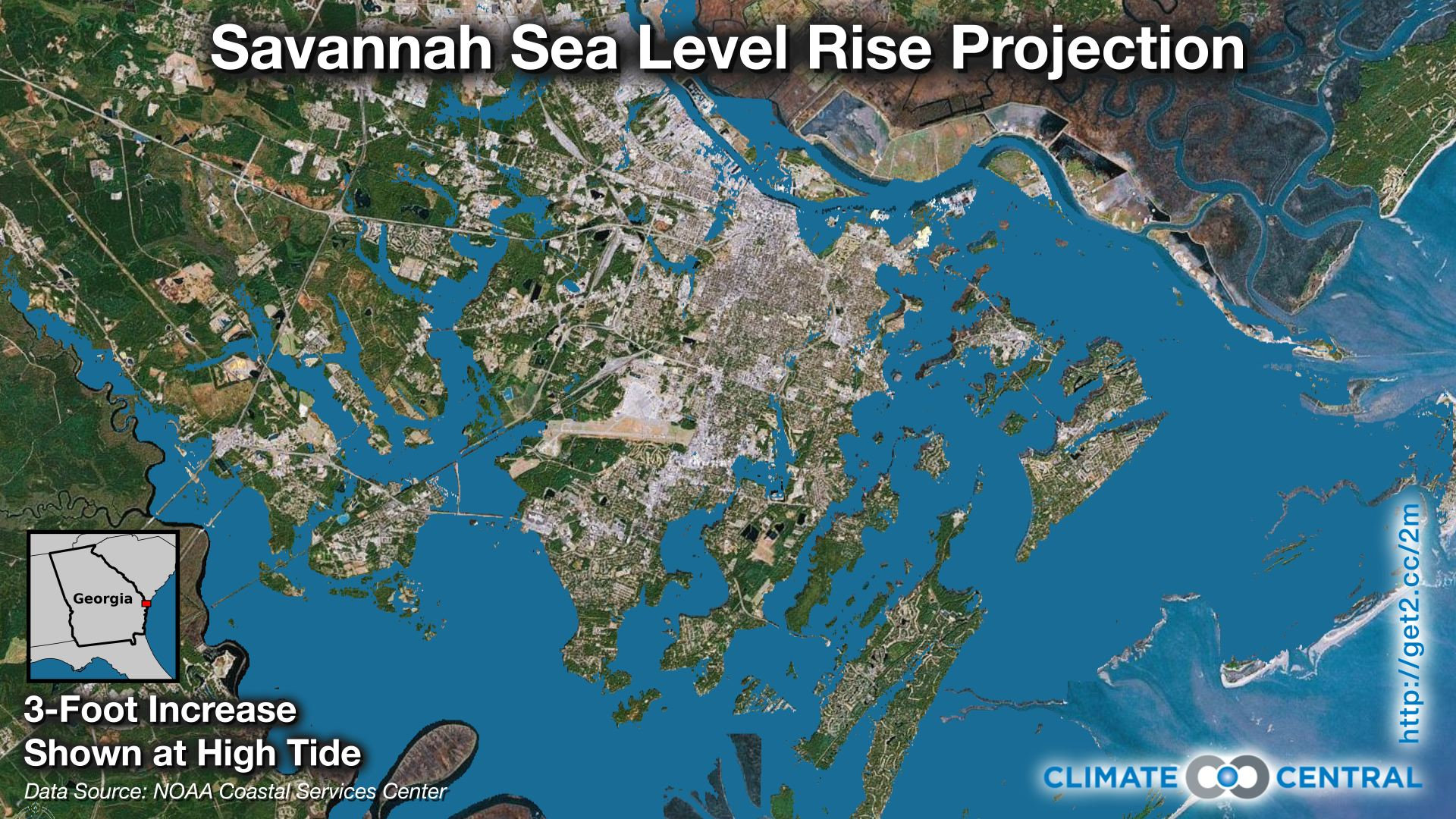 Water Elevation Map.Savannah Sea Level Rise Projection Climate Central