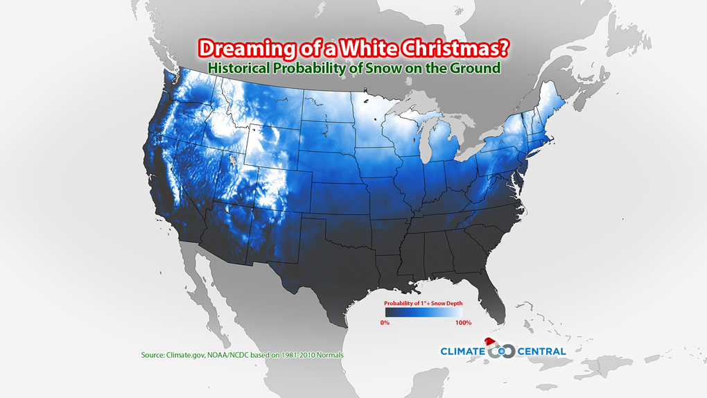 Christmas Snowfall Map 2020 Dreaming of a White Christmas? Check This Map | Climate Central