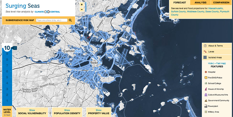 What Does US Look Like With Feet Of Sea Level Rise Climate - Altitude above sea level map