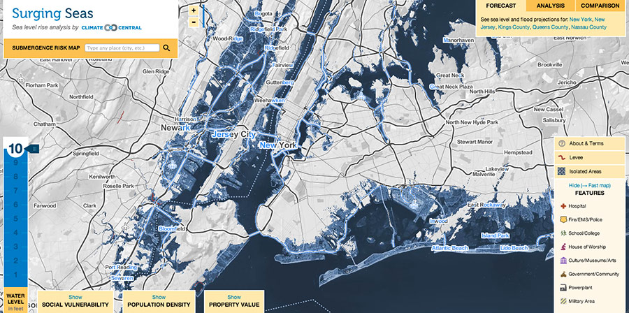 what does us look like with 10 feet of sea level rise