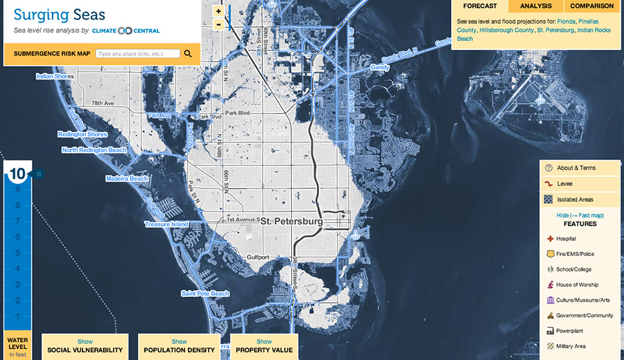 st petersburg fla projections showing water levels 10 feet above high tide line click on the map to explore