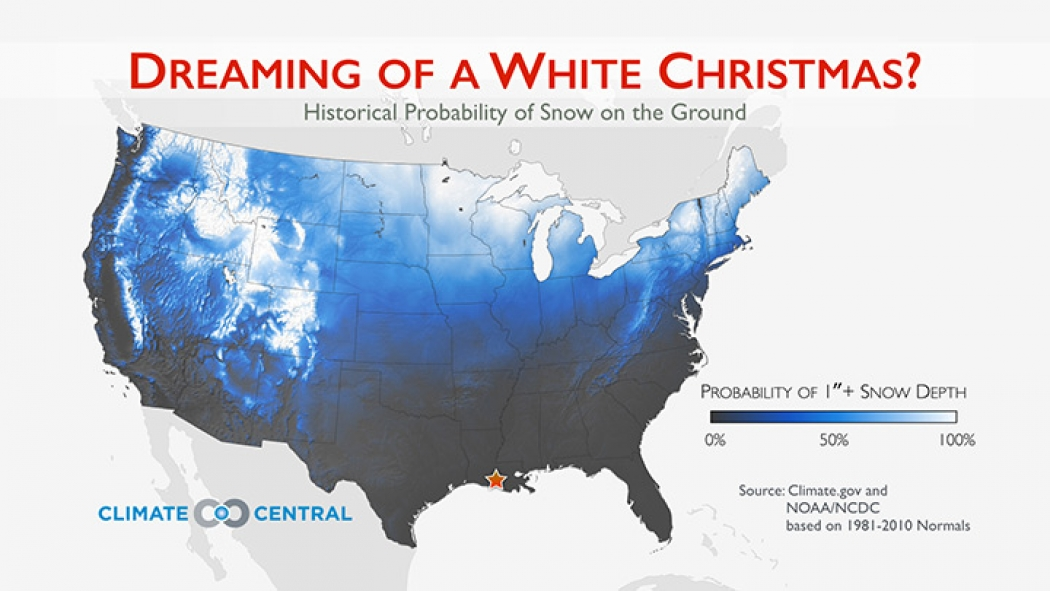 Chance Of White Christmas Map 2021 New Map Shows Where White Christmas Odds Are Highest Climate Central