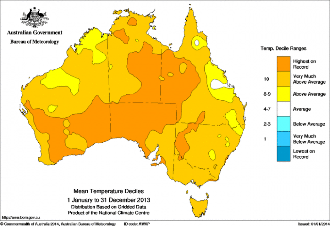 Australia Map Climate.In Australia 2013 Was A Scorcher For The Record Books Climate Central
