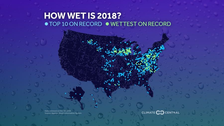 2018s Precipitation Records On One Map Climate Central - Rainfall-map-us