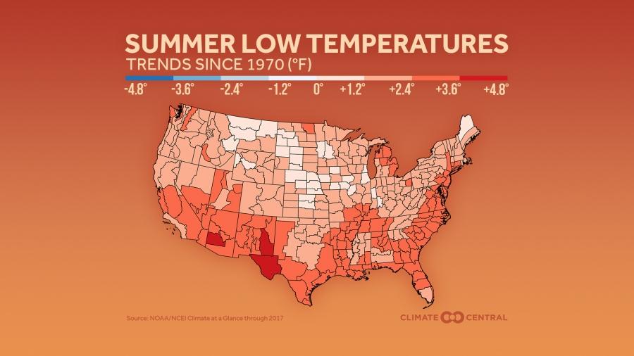 Summer Minimum & Maximum Temperatures in the U.S. | Climate ...