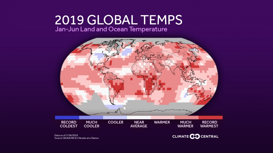 2019 Global Temperature Anomalies Through June