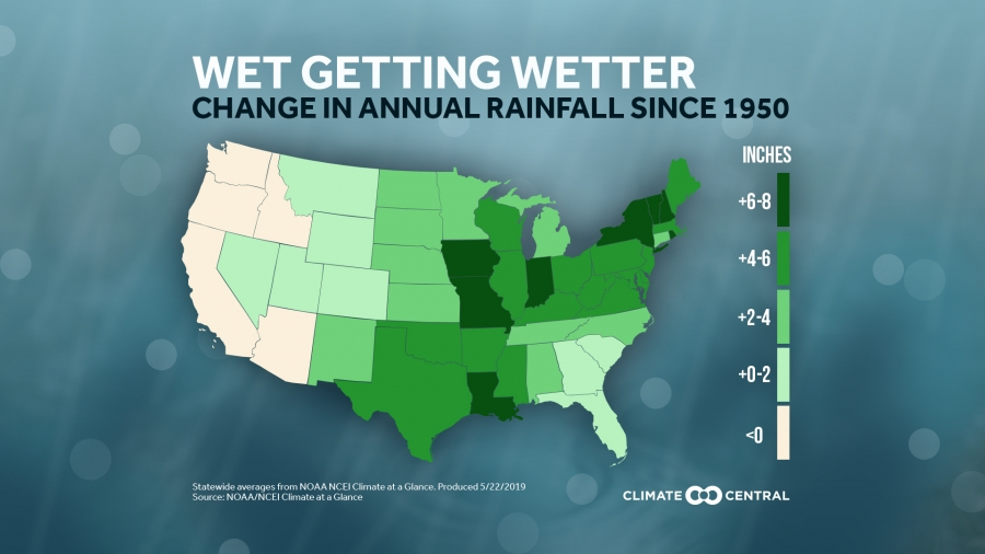 Annual Rainfall Increasing In Most Us States Climate Central - Rainfall-map-us