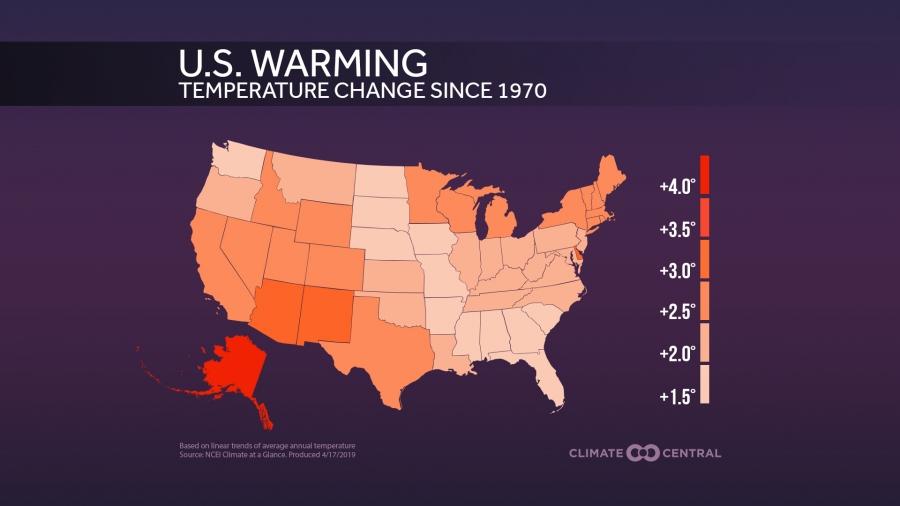 U.S. Warming By State
