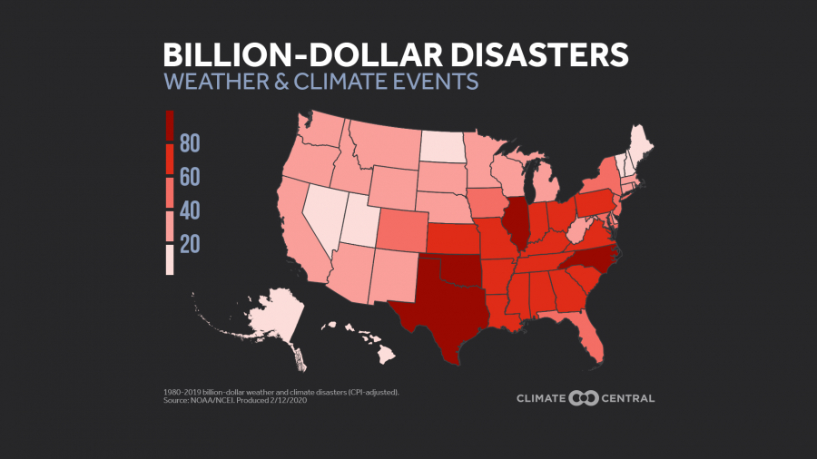 National map: Number of Disasters by State (2020)