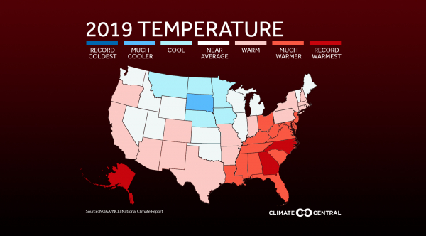 Map of 2019's temperature ranking by state