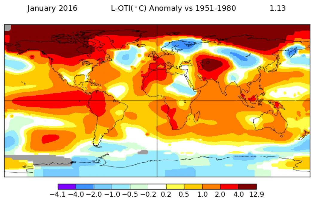 January Smashed Another Global Temperature Record   Climate ... on weather map, global annual rainfall map, global drought projections, global current map, global temperatures by year, sea level map, global sea temperatures, wind speed map, global smoke map, world map, solar output map, global snow map, hourly wage map, household debt map, global social media, atlantic multidecadal oscillation map, global velocity map, global warming, global gas map, global density map,