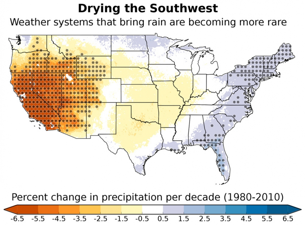 Precipitation across the U.S. that can be attributed to these changes in  weather patterns. The gray dots show areas where the results are  statistically ...