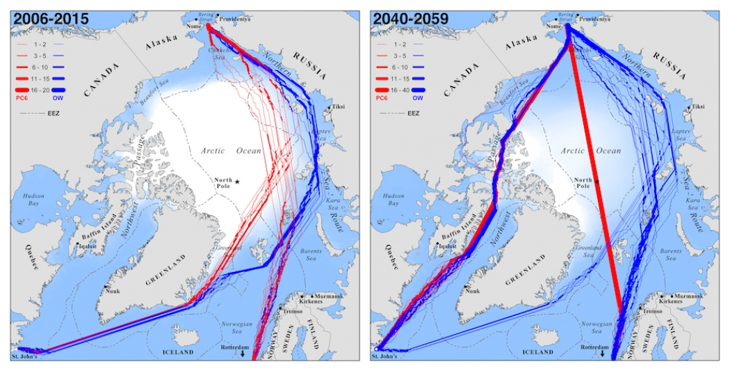 c7f96a6d54d The fastest September Trans-Arctic navigation routes today compared to  mid-century (right, showing Septembers 2040-2059), for hypothetical ships  seeking to ...